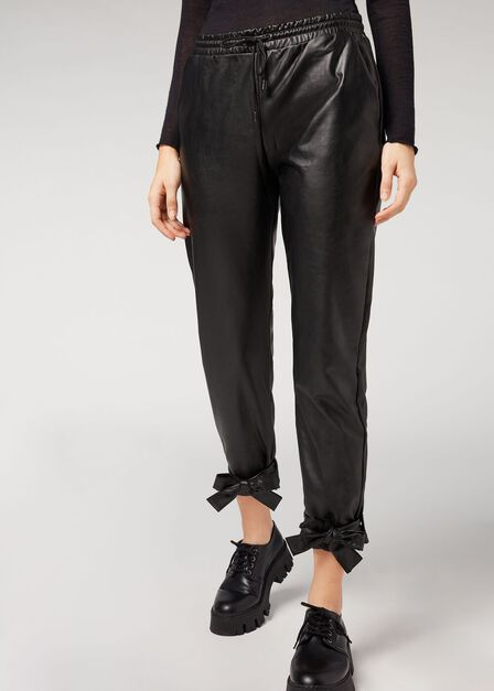 Calzedonia - BLACK Leather Effect Joggers