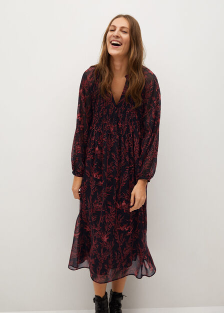 Mango - black Flowy printed dress