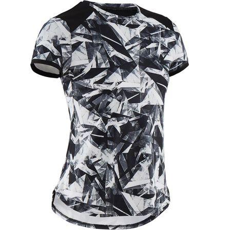 DOMYOS - 7-8Y  Girls' Breathable Synthetic Short-Sleeved Gym T-Shirt S500 - Black Print, Black