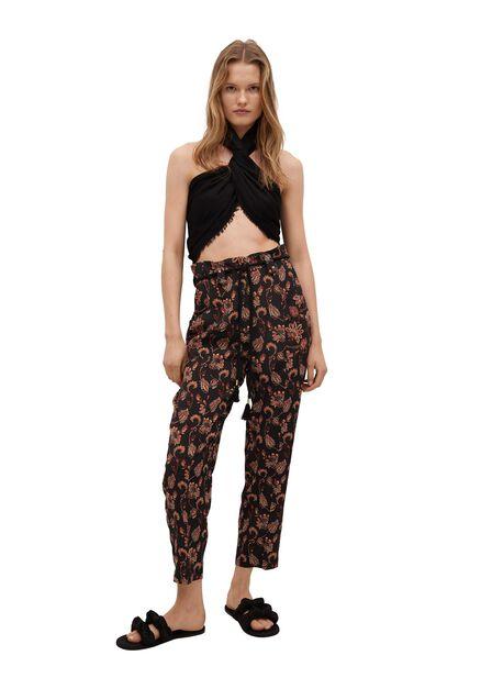 Mango - black Flowy printed trousers, Women