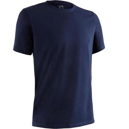 NYAMBA - Extra Large  500 Regular-Fit Pilates & Gentle Gym T-Shirt, Navy Blue
