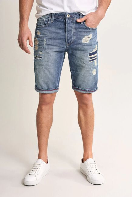 Salsa Jeans - Blue Brandon loose shorts in denim with rips