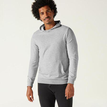 DOMYOS - Large  Men's Gym Hoodie 500 - Grey Marl, Light Grey