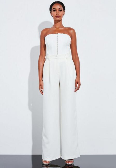 Missguided - Cream Ivory Super High Waisted Wide Leg Trousers