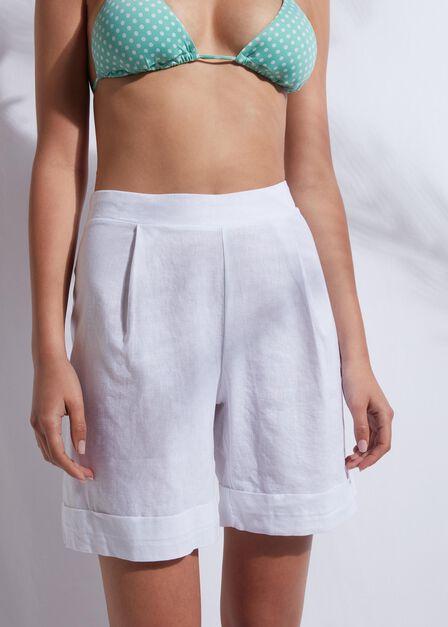 Calzedonia - White Linen And Cotton Shorts, Women