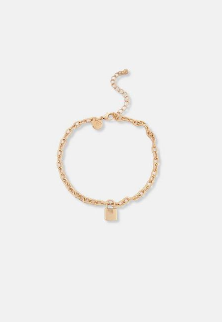Missguided - Gold Look Padlock Chain Anklet, Women