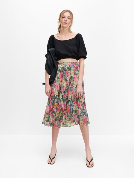 Reserved - Floral pleated skirt